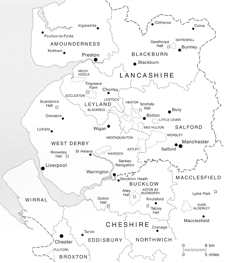 Map of Lancashire & Cheshire